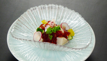 旬魚介と野菜のハスカップジュレ